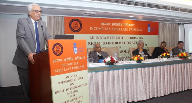 Hon'ble Justice P.P. Bhatt, President, Income Tax Appellate Tribunal addressing the gathering on the occasion of All India Refresher Course on Right to Information Act, 2005 for FAAs, CPIOs and APIOs on 14th December, 2018 at New Delhi.