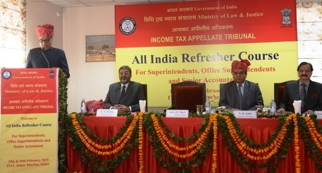 Hon'ble Justice P.P. Bhatt, President, Income Tax Appellate Tribunal, addressing the Superintendents, Office Superintendents and Sr. Accountant on the occasion of Refresher Course on 15th February, 2019 at Jaipur.